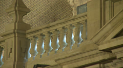 Balcony railing at the Basilica, stone made and back lit - stock footage