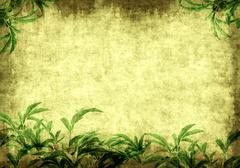 Stock Illustration of Grunge background with green leaves