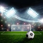 Soccer ball on green stadium arena Stock Illustration