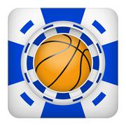 Square blue casino chips of basketball sports betting Stock Illustration