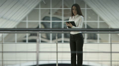 4K & HD resolution: businesswoman checks info and make notes at the attic floor Stock Footage