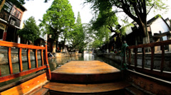 POV wooden boating Zhujiajiao  water village Shanghai China - stock footage
