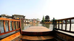 POV boating Zhujiajiao water village Shanghai China Asia - stock footage