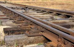 Railway details - rails and sleeper Stock Photos