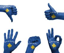 Stock Illustration of hand set with the flag of kosovo