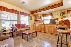 house interior. open floor plan. kitchen and dining area - stock photo