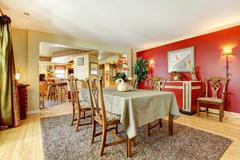 dining room with contrast walls - stock photo
