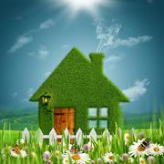 alpine farm. abstract eco concept backgrounds with beauty grassy house agains - stock illustration