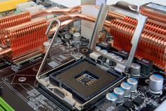Computer mainboard detail - processor socket - stock photo