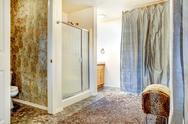 Bathroom interior with glass door shower Stock Photos