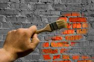 Stock Photo of To paint brickwork