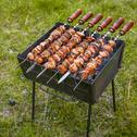 Stock Photo of easy lunch in the hiking, grilled meat on the brazier