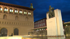 Goya painter statue and Lonja (market) in renaissance style Stock Footage