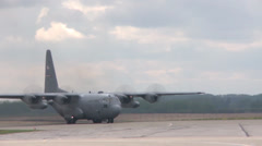 C-130 Hercules transport aircraft operations at Maple Flag 2014 Stock Footage