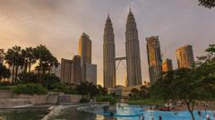 Petronas Twin Tower Kuala Lumpur Timelapse during sunset Stock Footage