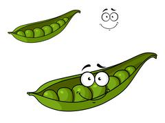 fresh green cartoon peas in a pod - stock illustration