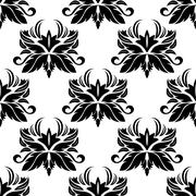 Stock Illustration of seamless pattern with black flourishes