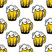pint of frothy beer seamless background pattern - stock illustration