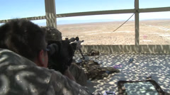 Oregon Soldiers from the 1-82 Cavalry Train on the 50 CAL and M107 Sniper Rifle Stock Footage