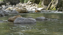 Mountain stream running peaceful over rocks. Stock Footage