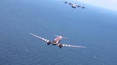C-47 Dakota skytrain and C-130 Hercules Normandy Formation Stock Footage