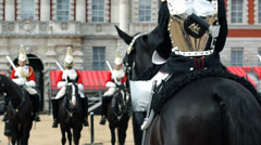 London the Queen's Royal Horse guards standing in formation Stock Footage