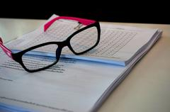 glasses and document - stock photo