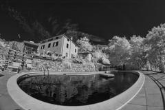 Infrared Picture of a Agriturismo in Tuscany Stock Photos