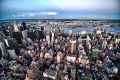 New York City Skyline by Night Stock Photos