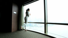 Female Asian Chinese Business Traveller Luxury Penthouse Shanghai - stock footage
