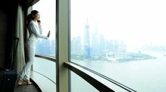 Ethnic Businesswoman Luxury Hotel Suite The Bund WiFi Smart Phone Cloud - stock footage