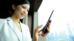 American Ethnic Female Financial Consultant Cloud Tablet Shanghai The Bund - stock footage
