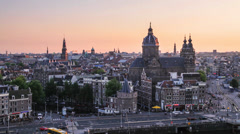 Amsterdam Skyline, the Netherlands Stock Footage