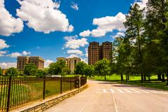 bike path at druid hill park in baltimore, maryland. - stock photo