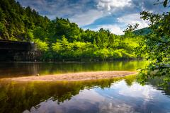 Stock Photo of evening clouds reflections in the lehigh river, at lehigh gorge state park, p