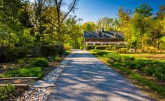 gardens along a path through cylburn arboretum, baltimore, maryland. - stock photo