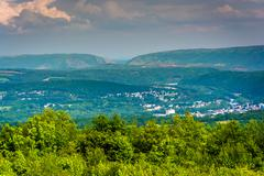 View of lehigh gap from flagstaff mountain, pennsylvania. Stock Photos