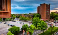 Stock Photo of view of buildings near otterbein from a parking garage in baltimore, maryland