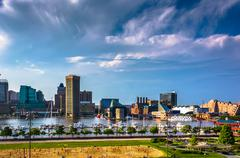 view of the inner harbor from federal hill in baltimore, maryland. - stock photo