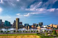 Stock Photo of view of the inner harbor from federal hill in baltimore, maryland.