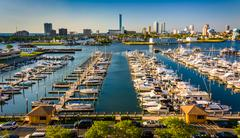 View of the skyline and frank s. farley state marina from the golden nugget p Stock Photos