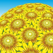 sunflower bunch - stock illustration