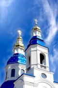 cathedral with cupolas - stock photo