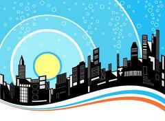 city ripple - stock illustration
