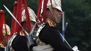 Stock Video Footage of Close Up London the Queen's Royal Horse guards standing in formation
