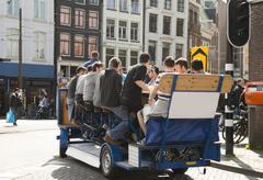Stock Photo of amsterdam beer bike pub crawl