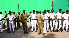 Dancers at green mat Stock Footage