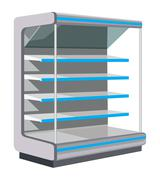 Showcase with empty shelves. Stock Illustration