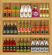 shop alcoholic beverages. - stock illustration