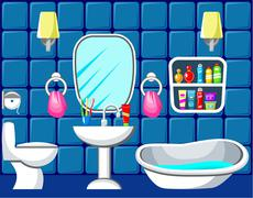 Stock Illustration of preview bathroom with design elements